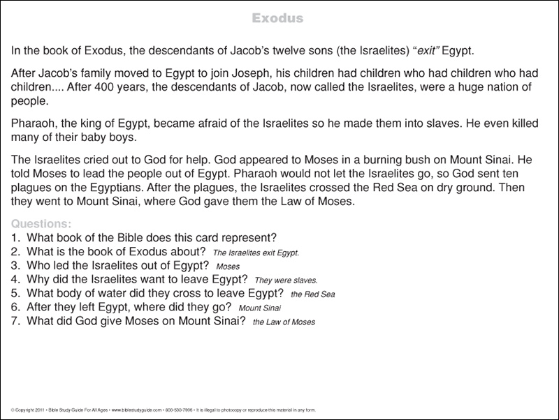 exodus bible book summary card back